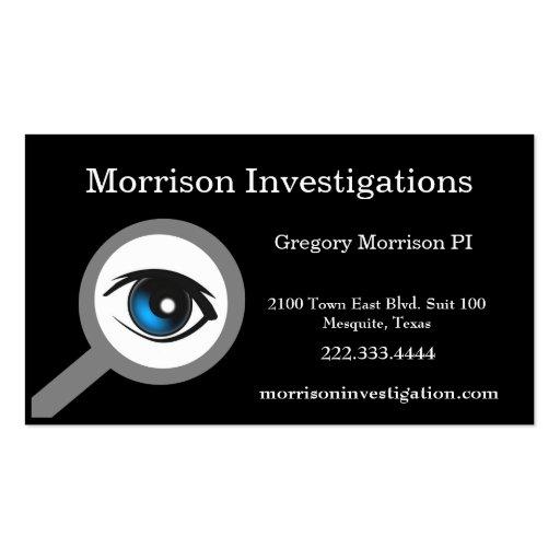 Tarjeta de visita privada negra de la investigació
