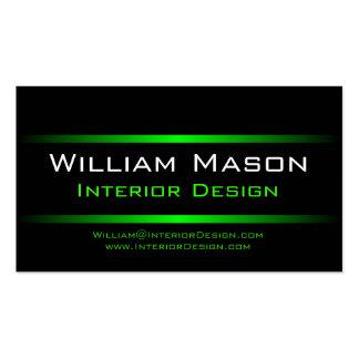 Tarjeta de visita profesional de dos rayas verdes