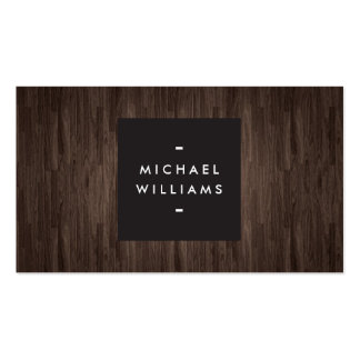 Tarjeta de visita profesional de madera oscura mod