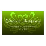 Tarjeta de visita profesional verde del masaje/de