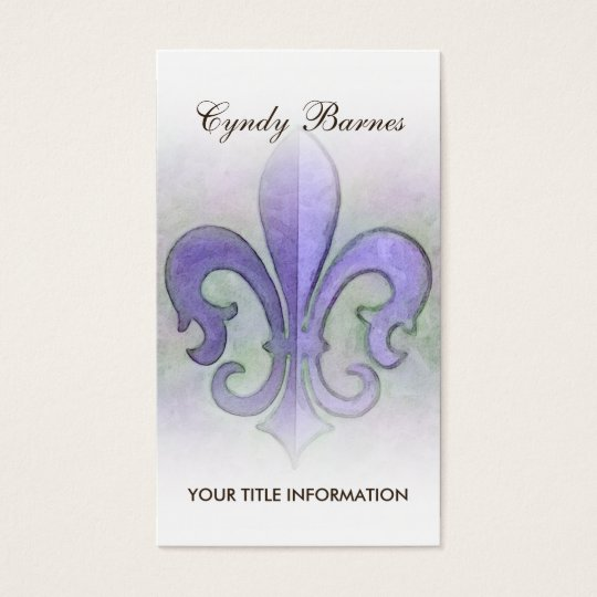 Tarjeta de visita púrpura de la flor de lis