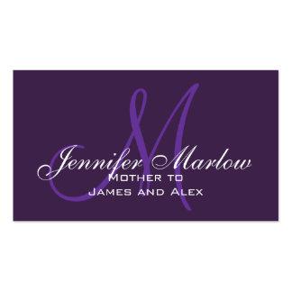 Tarjeta de visita púrpura de la mamá del monograma