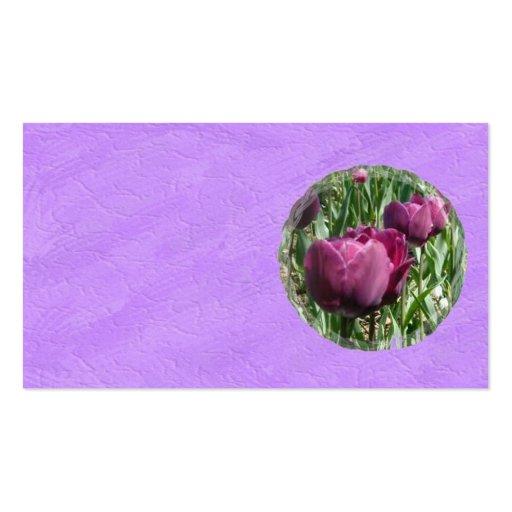 Tarjeta de visita púrpura de los tulipanes