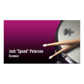 Tarjeta de visita púrpura del músico del batería