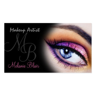 Tarjeta de visita púrpura del ojo azul del artista