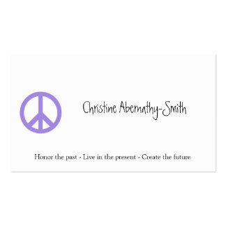 Tarjeta de visita púrpura del símbolo de paz