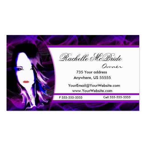 Tarjeta de visita púrpura traviesa del estilista