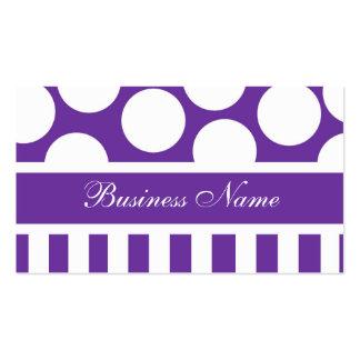 Tarjeta de visita púrpura y blanca