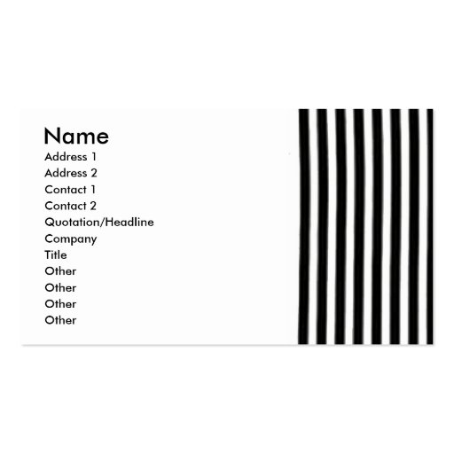 Tarjeta de visita rayada blanco y negro