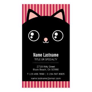 Tarjeta de visita rayada del gatito de la cara neg