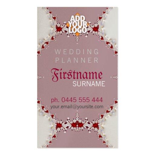 Tarjeta de visita real del planificador del boda
