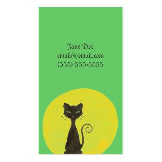 Tarjeta de visita rizada del gatito y de la luna