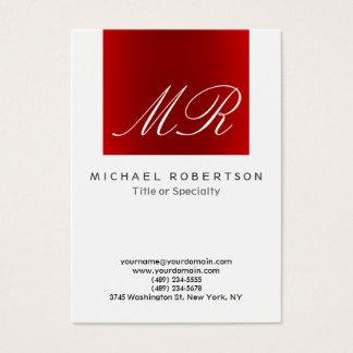 Tarjeta de visita roja blanca del monograma
