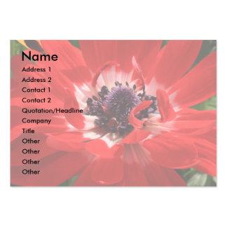 Tarjeta de visita roja de la anémona