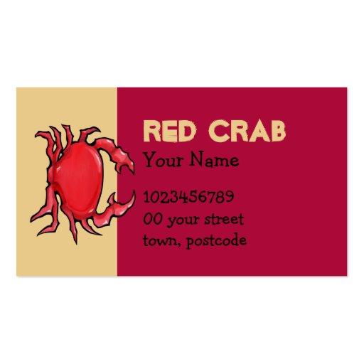 Tarjeta de visita roja de la arena del cangrejo