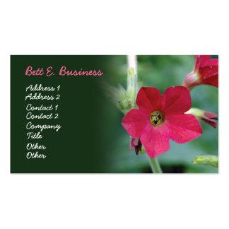 Tarjeta de visita roja de la flor, acento verde