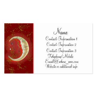 Tarjeta de visita roja de la luna de la perla