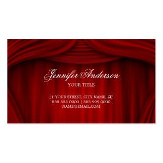 Tarjeta de visita roja de las cortinas