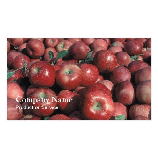 Tarjeta de visita roja de las manzanas
