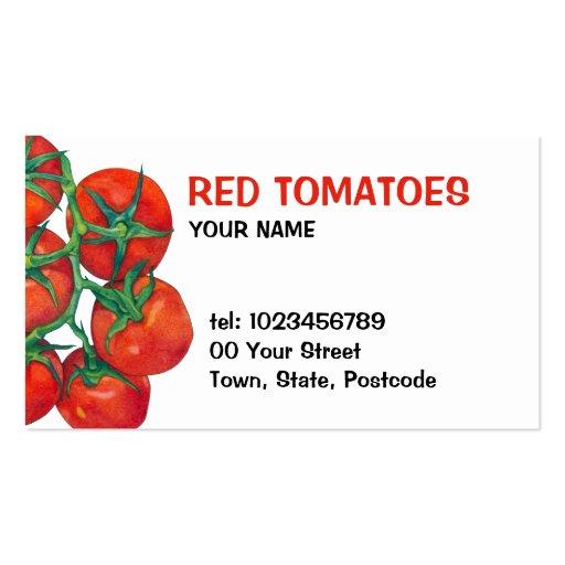 Tarjeta de visita roja de los tomates