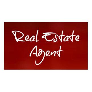 Tarjeta de visita roja del agente inmobiliario