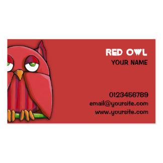 Tarjeta de visita roja del búho rojo