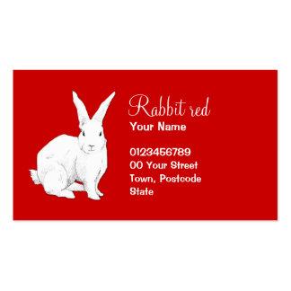 Tarjeta de visita roja del conejo
