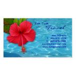 Tarjeta de visita roja del hibisco de la piscina d