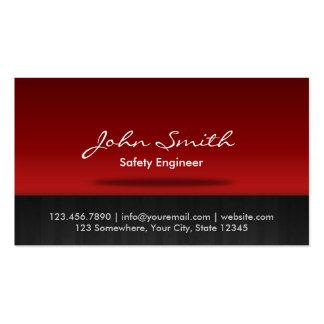 Tarjeta de visita roja del ingeniero de seguridad