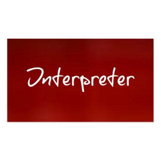 Tarjeta de visita roja del intérprete