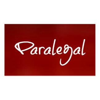 Tarjeta de visita roja del Paralegal