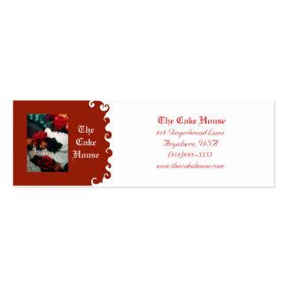 Tarjeta de visita roja del remolino del pastel de