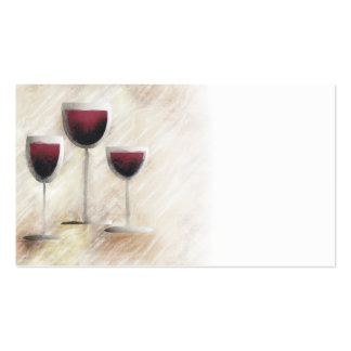 Tarjeta de visita roja del trío de la copa de vino