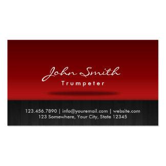 Tarjeta de visita roja elegante del trompetista de