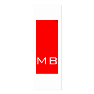 Tarjeta de visita roja flaca del monograma simple