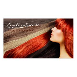 Tarjeta de visita roja larga del pelo del estilist