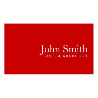 Tarjeta de visita roja llana simple del arquitecto