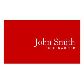 Tarjeta de visita roja llana simple del guionista