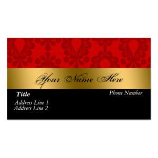 Tarjeta de visita roja negra del damasco del oro