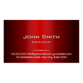 Tarjeta de visita roja profesional del anunciador