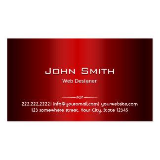 Tarjeta de visita roja profesional del diseño web