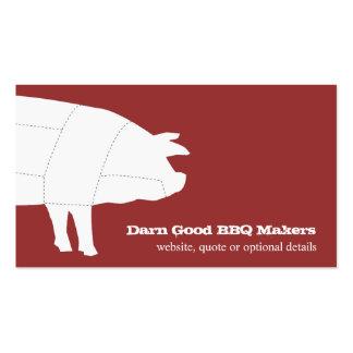 Tarjeta de visita roja seccionada del cerdo del Bb