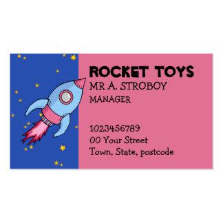 Tarjeta de visita rosada azul de Rocket