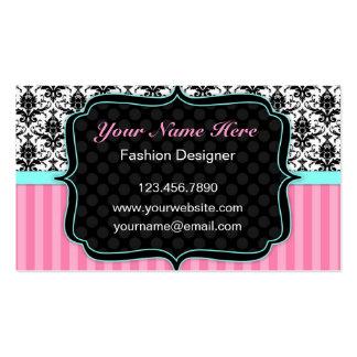 Tarjeta de visita rosada blanco y negro bonita de