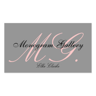 Tarjeta de visita rosada de encargo del monograma