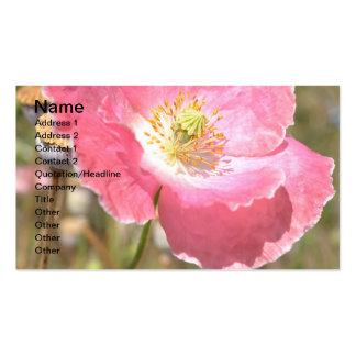 Tarjeta de visita rosada de la amapola y de la cer