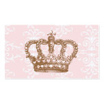 Tarjeta de visita rosada de la corona del damasco
