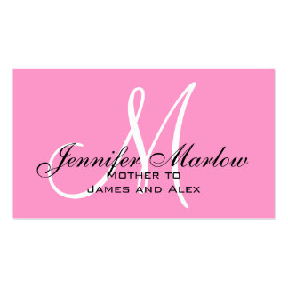 Tarjeta de visita rosada de la mamá del monograma