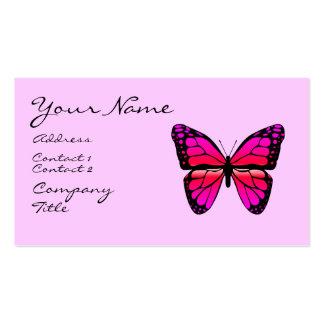 Tarjeta de visita rosada de la mariposa