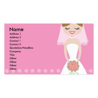 Tarjeta de visita rosada de la novia